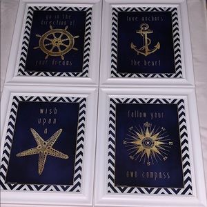 Nautical themed decor Set of 4